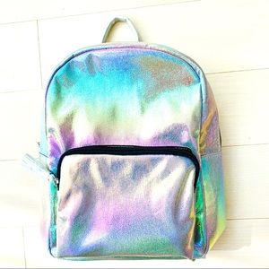 rainbow holographic metallic faux leather backpack
